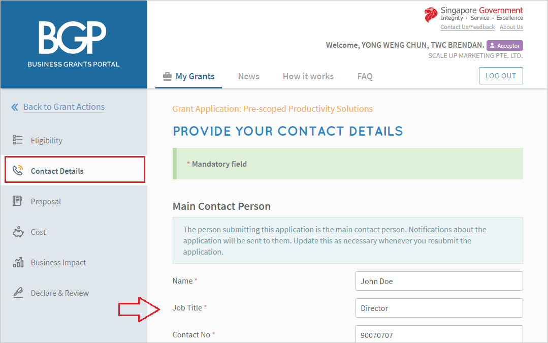 screenshot image that requires to complete the contact person details of the grant application