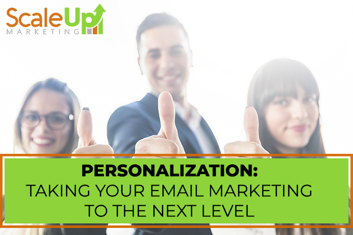 "blog title""Personalization: Taking Your Email Marketing To the Next Level"" with a header of three person making thumbs up"
