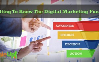 "Header image of the blog title ""Getting To Know The Digital Marketing Funnel"" and two arms pointing forward to a transparent glass board with sticky notes on it and a sales funnel on the right side indicating actions to a buyer's journey."
