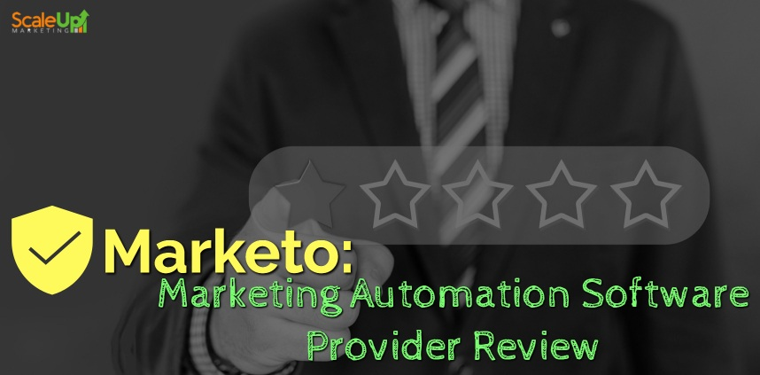 "header image of the blog title ""Marketo: Marketing Automation Software Provider Review"" with a background of a man wearing corporate attire pointing the first star out of five using his right hand"