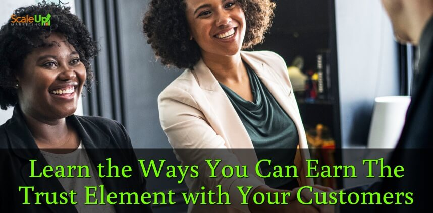 "header image of the blog title ""The Trust Element: How It Gets You More Repeat Sales"" with over-the-shoulder shot of a man shaking hands and smiling directly to 2 women wearing corporate attires"