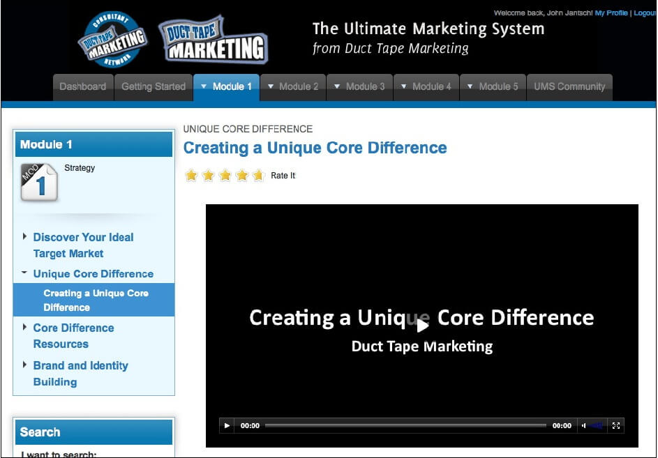 screenshot of duct tape marketing consists of 5 module lessons