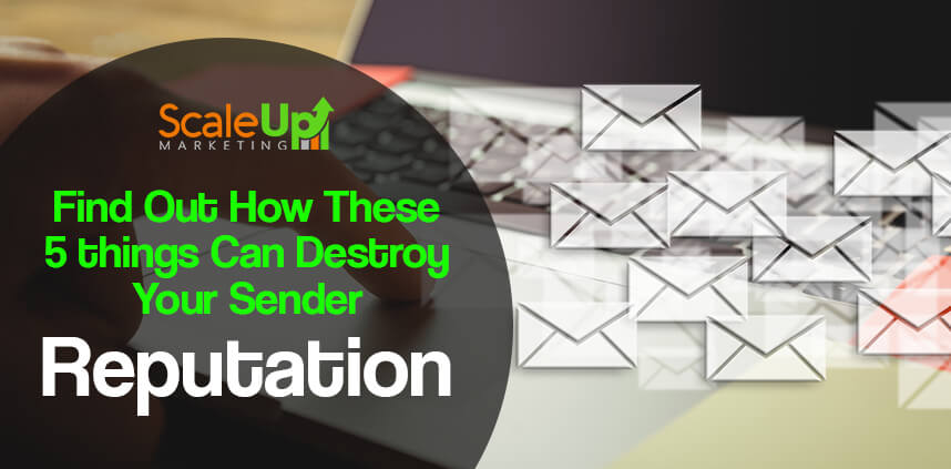 "header image of the blog title ""Find Out How These 5 Things Can Destroy Your Sender Reputation"" with background image of a person's hand touching a mouse pad of a laptop with flying icons on the right side"