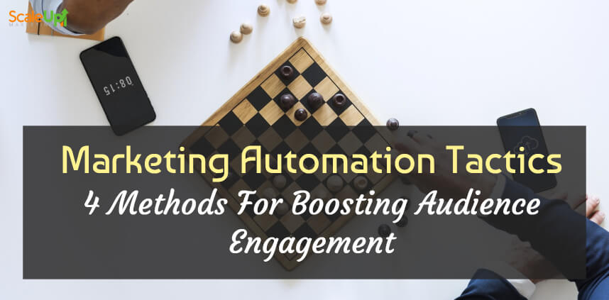 "header image of the blog title ""Marketing Automation Tactics 4 Methods For Boosting Audience Engagement"" with an overhead shot of two person wearing corporate attire playing chess"