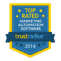 a blue badge of trust radius with a text of ``TOP RATED MARKETING AUTOMATION SOFTWARE`` 2014