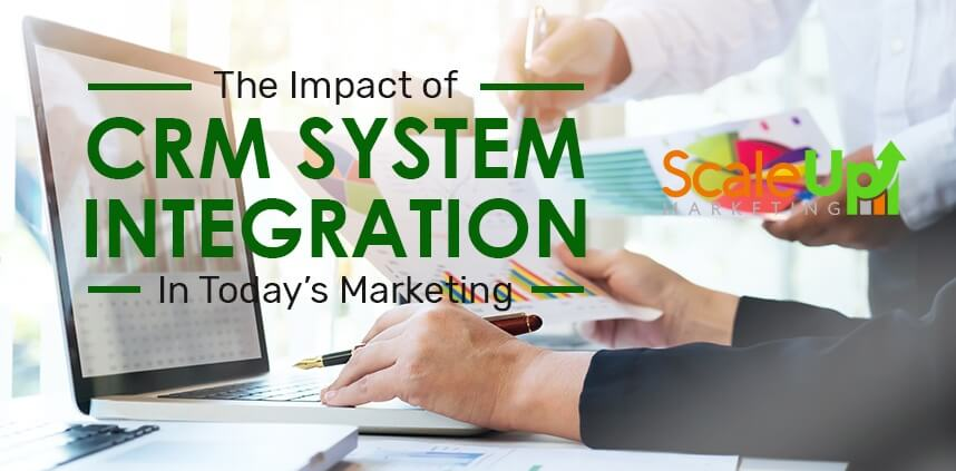 "header image of the blog title ""The Impact of CRM System Integration In Today's Marketing"" with two persons discussing in front of a laptop while holding documents"
