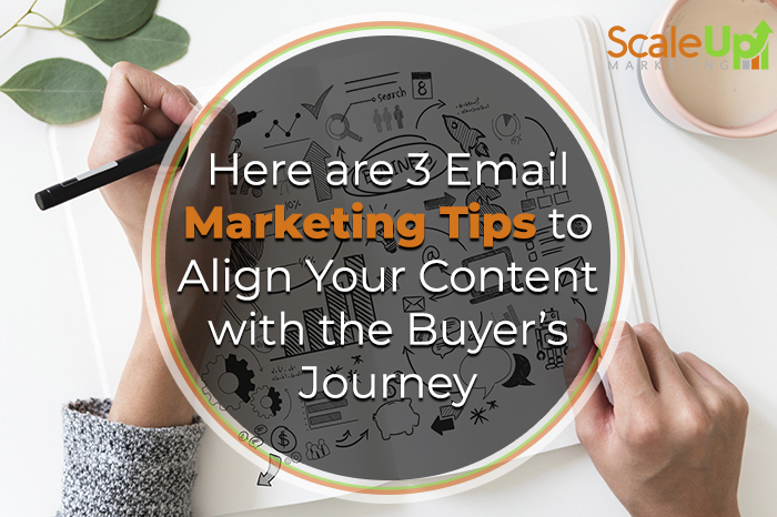 "blog title ""3 Ways to Align Your Email Marketing Strategy with the Buyer's Journey"" A Header With A Person Holding Black Pen and Book Near Pink Ceramic Mug In A White Table"