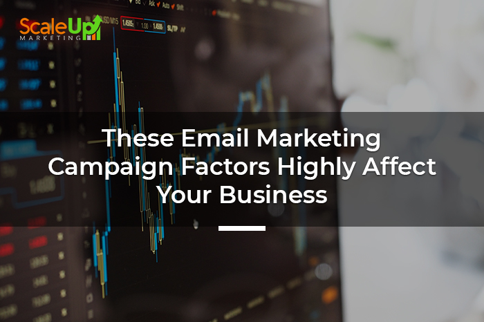 "blog title ""These Email Marketing Campaign Factors Highly Affect Your Business"" with an image banner of a graph"