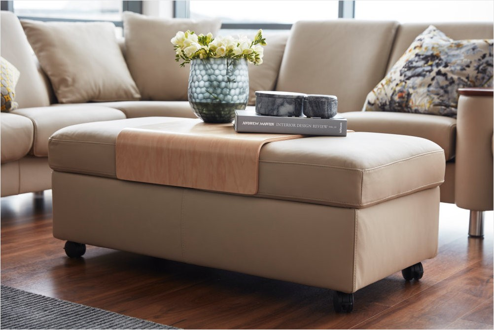 stressless double ottoman with storage and table top