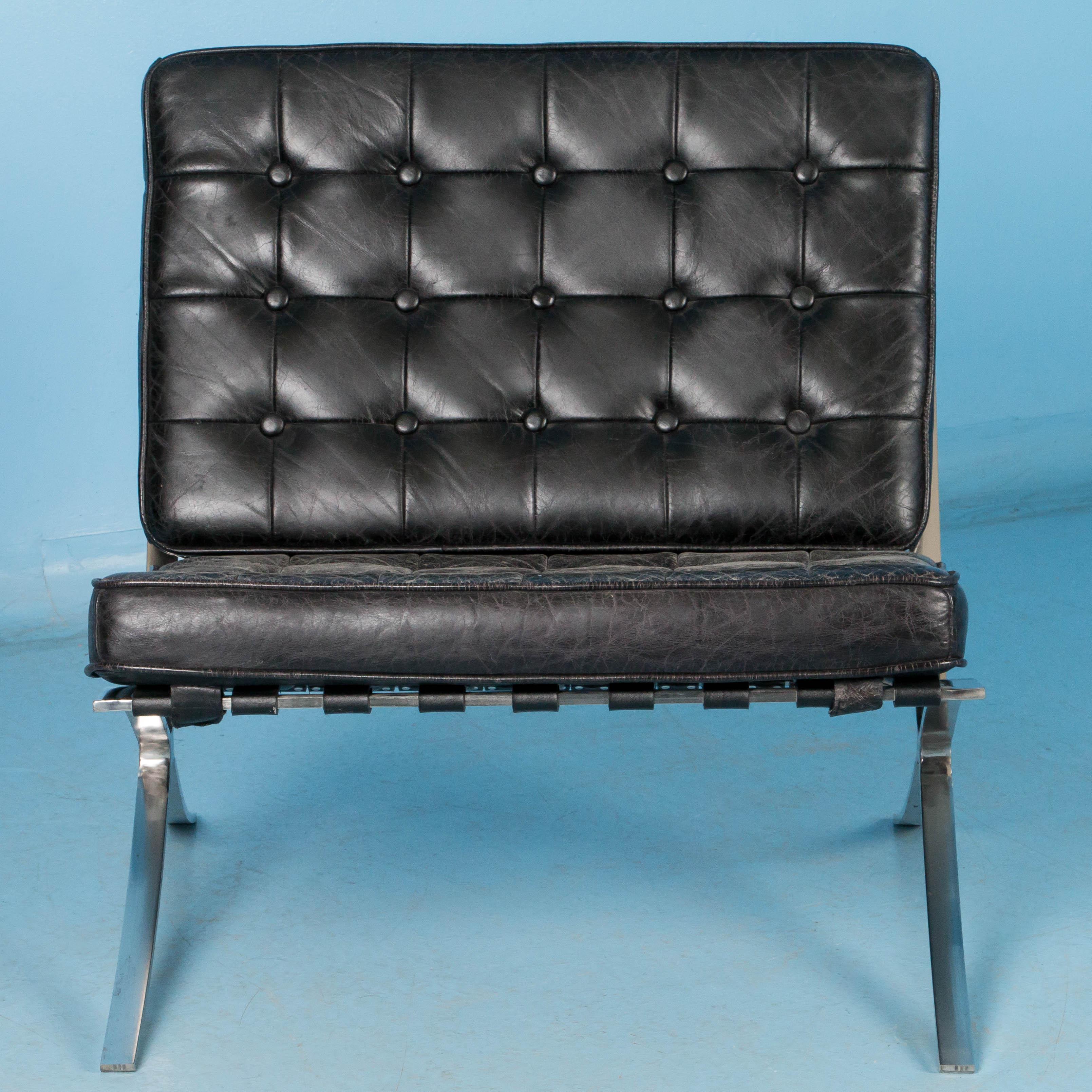 barcelona chair leather wheelchair diagram black style with chrome frame