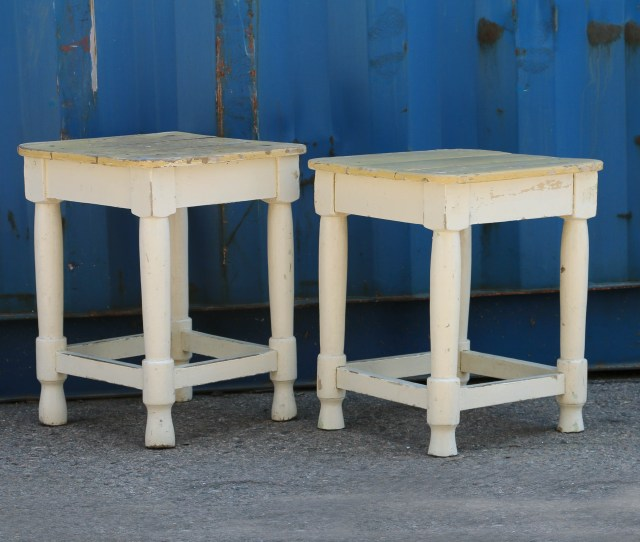 Pair Of Antique Painted Side Table Stools