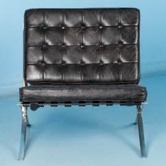 Barcelona Chair Leather Revolving With Armrest Black Style Chrome Frame