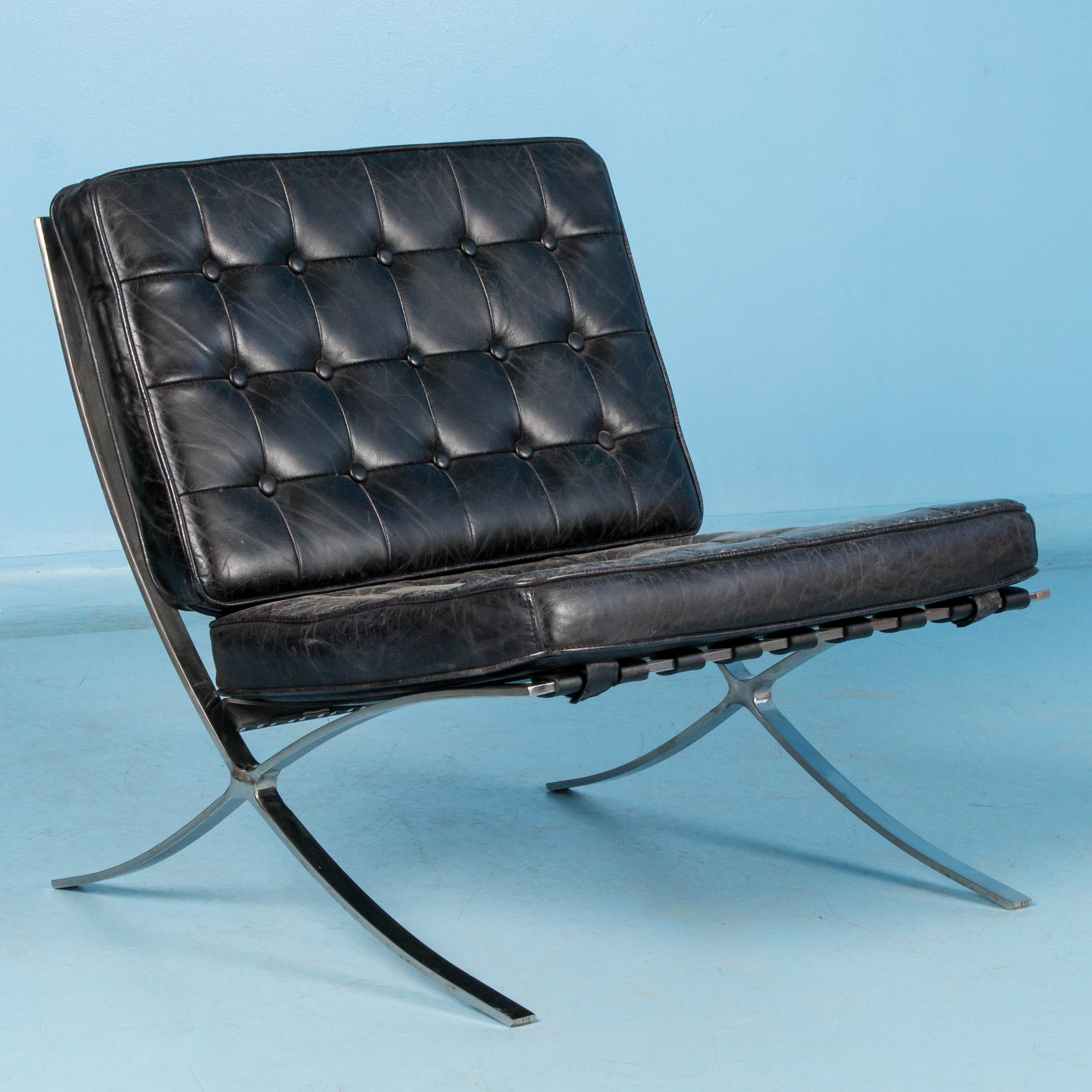leather and chrome chairs reupholster dining room chair seat black barcelona style with frame