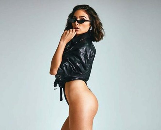 Olivia Culpo ass and leather jacket
