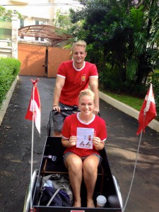 Two Danish Embassy workers going for a cycling trip to promote the new initiative. Photo: Danish Embassy in Indonesia