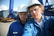 An early selfie, Ola Eliasson and Björn Tjärnberg at shipyard in Finland shooting for ultimate Cruise Ship for Discovery Channel