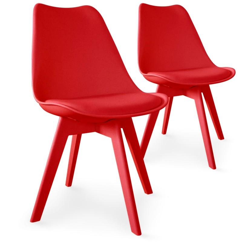Chaises Scandinave Colors Rouge  Lot De 2 Pas Cher
