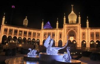 Château du parc de Tivoli illuminée pour Noël