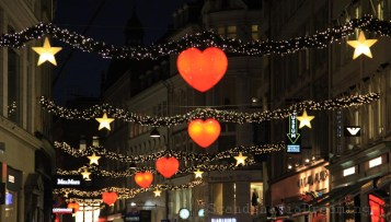 Une des nombreuses rues décorées de Copenhague
