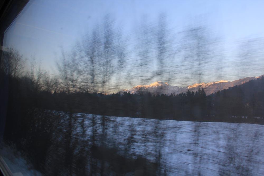 Dans le train entre la Slovénie et l'Autriche