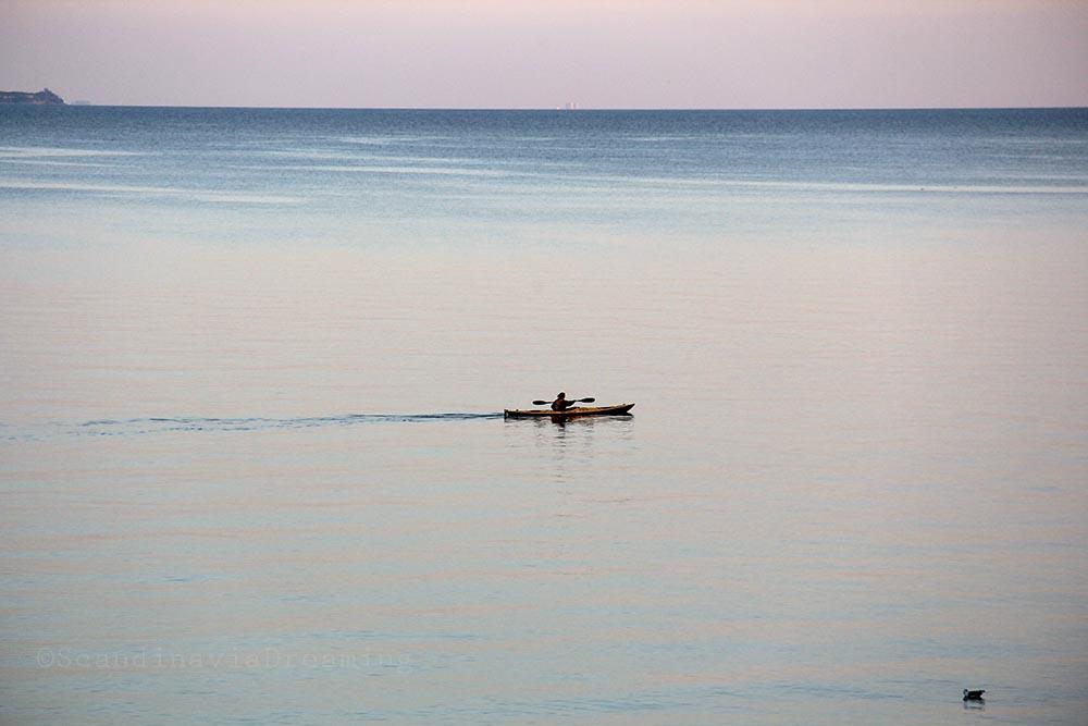 Kayak au soleil couchant