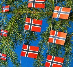 Norwegian flag on Christmas tree