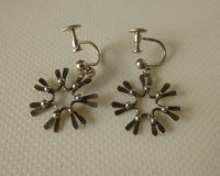 Silver daisy earrings with screws,convertible ...
