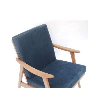 Fauteuil vintage scandinave, velours bleu pétrole