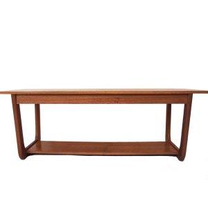 Table basse vintage scandinave, double plateau, piétement «U»