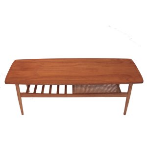 Table basse vintage scandinave, double plateau canné et à barreaux