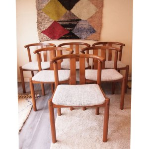 Ensemble 4 chaises scandinaves danoises, Uldum vintage 50 60