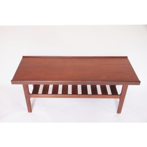 Table basse rectiligne scandinave vintage, teck brun