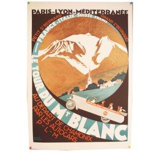 Affiche lithographie vintage, Mont Blanc