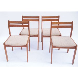 Lot de 4 chaises vintage scandinave beige