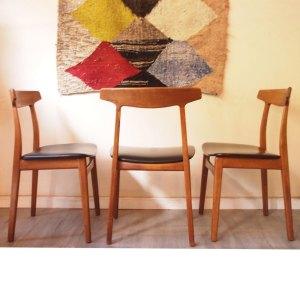 Chaise scandinave danoise vintage signée Henning Kjaernulf, fabricant Bruno Hansen