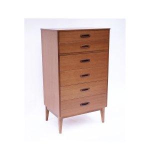 Commode haute 6 tiroirs vintage scandinave teck miel #211