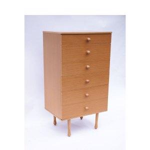 Commode haute 6 tiroirs scandinave vintage, teck miel claire #212