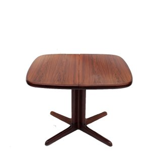 Table carrée scandinave danoise vintage palissandre de Rio, 2 rallonges