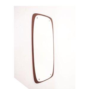 Grand miroir scandinave vintage teck brun #180
