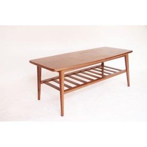 Table basse scandinave vintage, double plateau, pieds compas #344