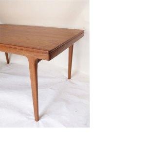 Table de salle à manger ou grand bureau scandinave danois vintage, 2 extensions #1072