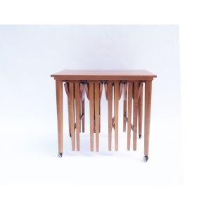 Table basse d'appoint et ses 4 minis tables en gigognes vintage scandinave (2 disponibles)