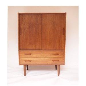 Commode scandinave danoise vintage, portes coulissantes et tiroirs #430
