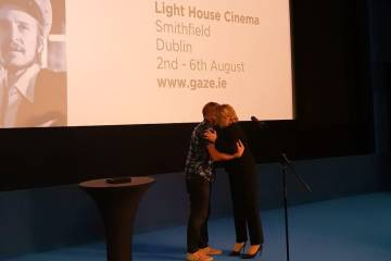 rish film director John Butler conferring our inaugural Vanguard Award to former President Mary McAleese at GAZE Film Festival in Light House Cinema