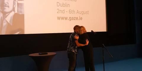 rish film director John Butler conferring our inaugural Vanguard Award to former President Mary McAleese at GAZE Film Festival in Light House Cinema