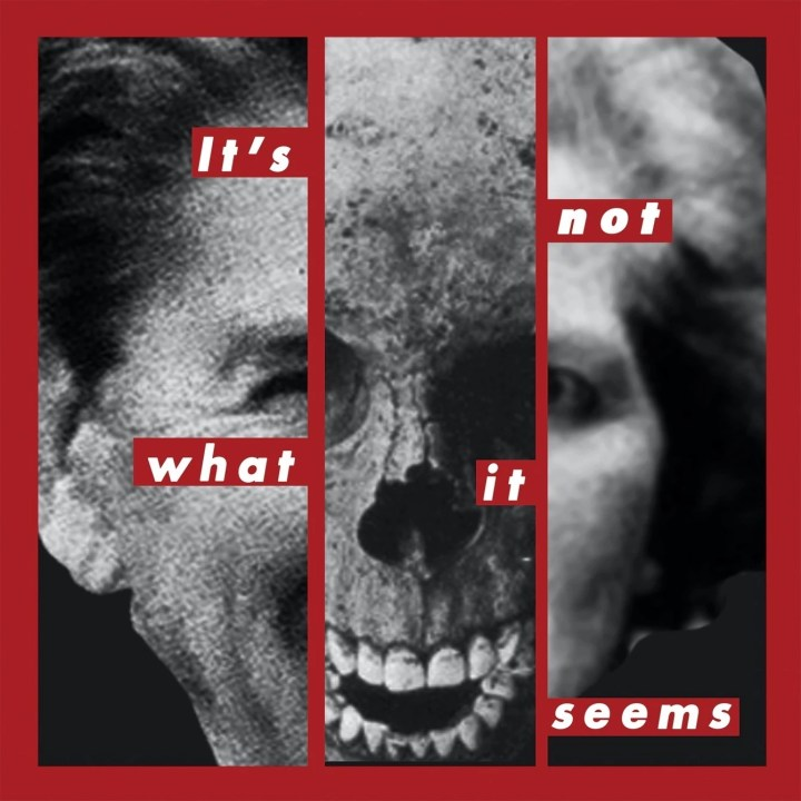 Photographic collage on a compact disco sleeve artwork with Ronald Reagan, Margaret Thatcher and a skull, all in black and white, surrounded red text. Designed in the style of American artist Barbara Kruger