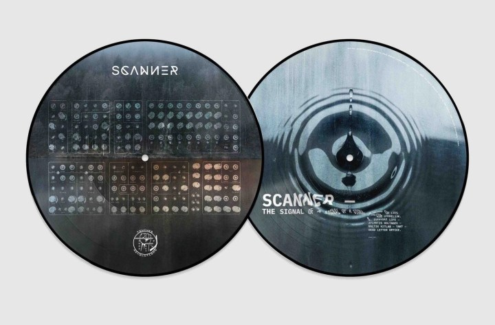Vinyl LP record artwork of Scanner album The Signal of a Signal of a Signal, featuring photos of rippling water and modular synths