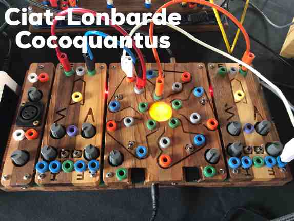 A very colourful wooden device sits on a table. Cables connect from one place to another, in red white and yellow colours. A light is on on the middle of the device. Across the top it reads Ciat-Lonbarde Cocoquantus