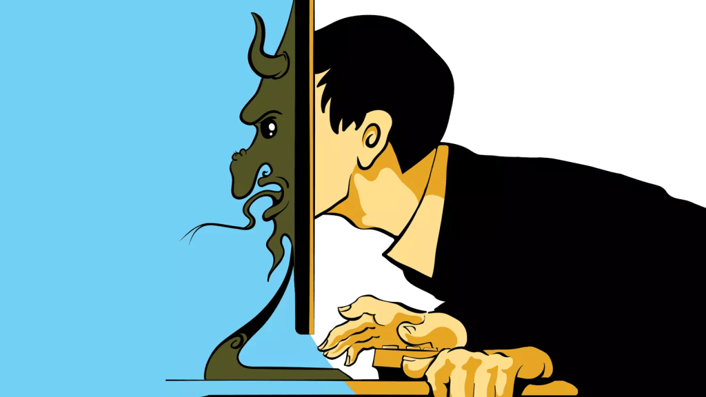 Cartoon image in colour of a man in a suit pushing his face into the computer screen and out the other side emerges a scary monster