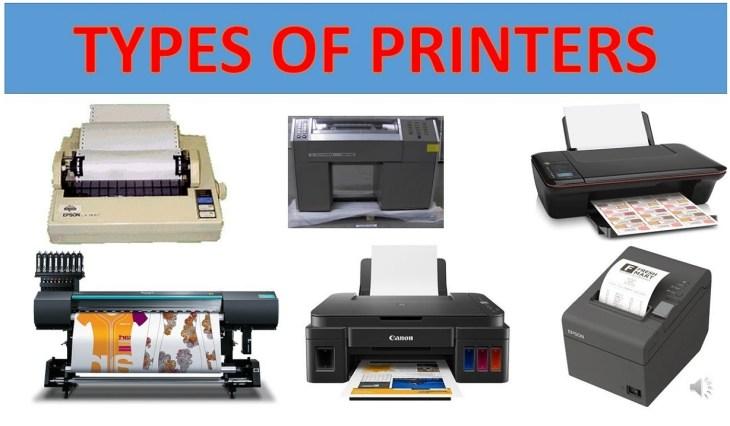 Types of Printers Laser printer inkjet printer thermal printer dot-matrix printer led printer